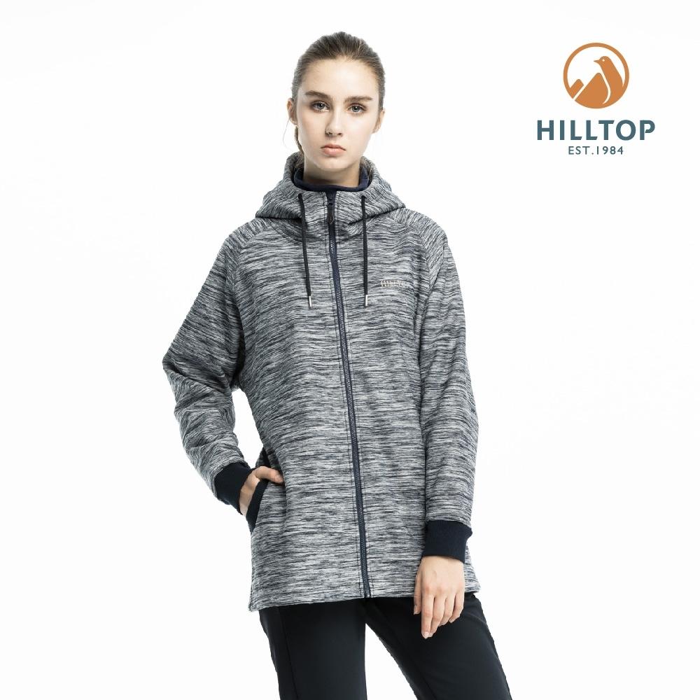 【hilltop山頂鳥】女款防風透氣保暖連帽刷毛外套PH22XFV7ECA0黑麻花