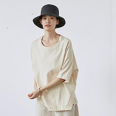 旅途原品_星期天_原創設計三色重磅純棉T恤-米白/橘粉/深灰