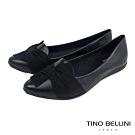Tino Bellini巴西進口蛇紋皮扭結平底鞋_黑