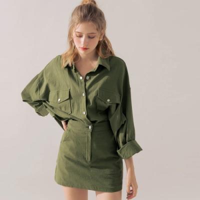 AIR SPACE 棉料排釦襯衫褲裙套裝(軍綠)