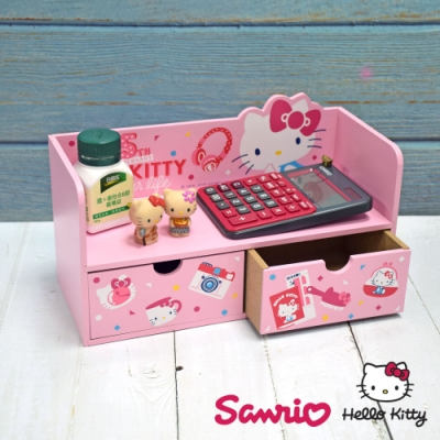 Hello Kitty 凱蒂貓 造型收納兩抽盒 桌上收納 文具收納 飾品收納