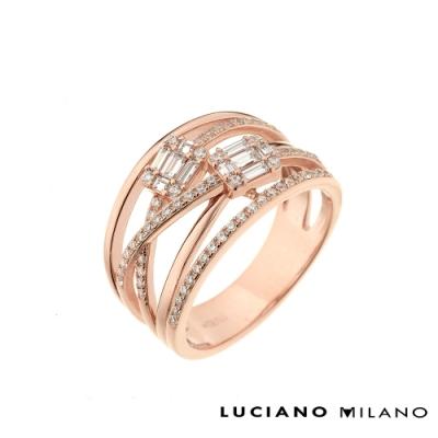 LUCIANO MILANO 玫瑰金雙鋯石純銀戒指