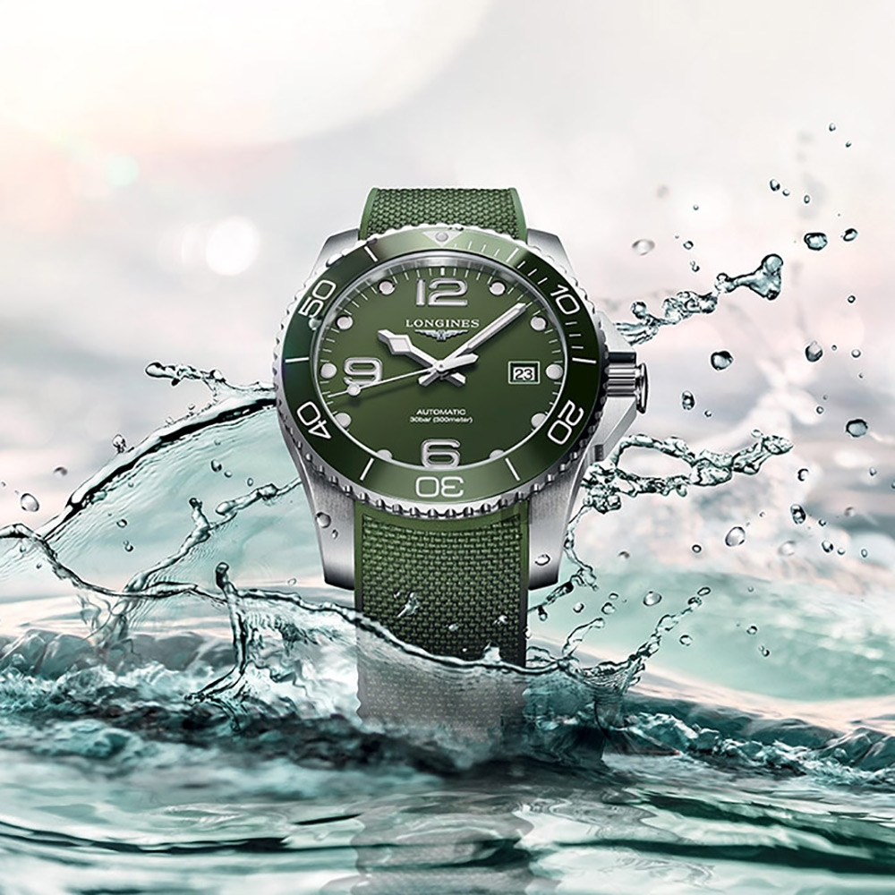 LONGINES 浪琴 深海征服者浪鬼陶瓷潛水機械錶(L37824069)-綠/43mm