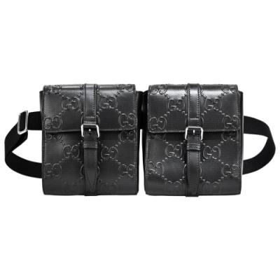 GUCCI GG 牛皮印花壓紋翻蓋雙袋腰包(黑)