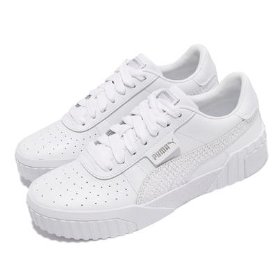 Puma 休閒鞋 Cali Snake 厚底 小白鞋 女鞋 海外限定 皮革鞋面 蛇紋 穿搭推薦 白 37209601