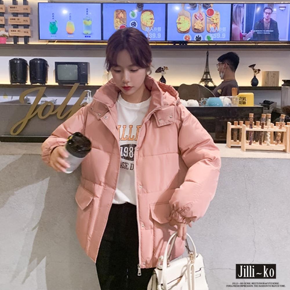 JILLI-KO 羽絨棉保暖麵包服連帽外套- 粉紅 (粉紅色系)