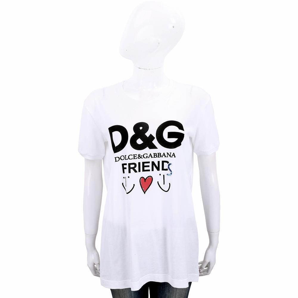 DOLCE & GABBANA 亮片字母印花白色輕質棉短T恤
