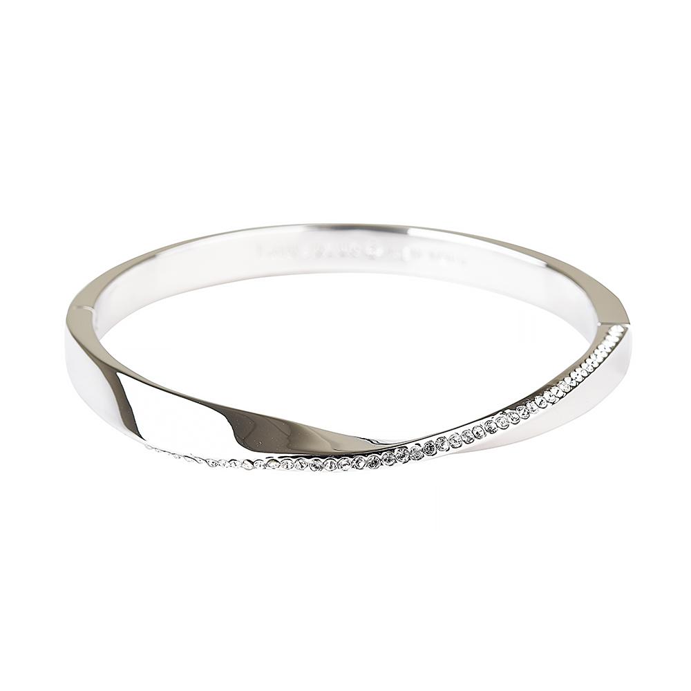 kate spade經典扭曲設計鑽鑲飾扣式手環(銀)