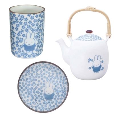 日本製造 米菲兔Miffy 金正陶器和小紋美濃燒日式茶具3入組21216(含茶壺/茶杯子/盤子各1;瓷製)