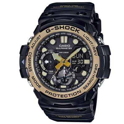 G-SHOCK強悍機能雙重感應月齡潮汐休閒錶(GN-1000GB-1A)-黑X金框53mm