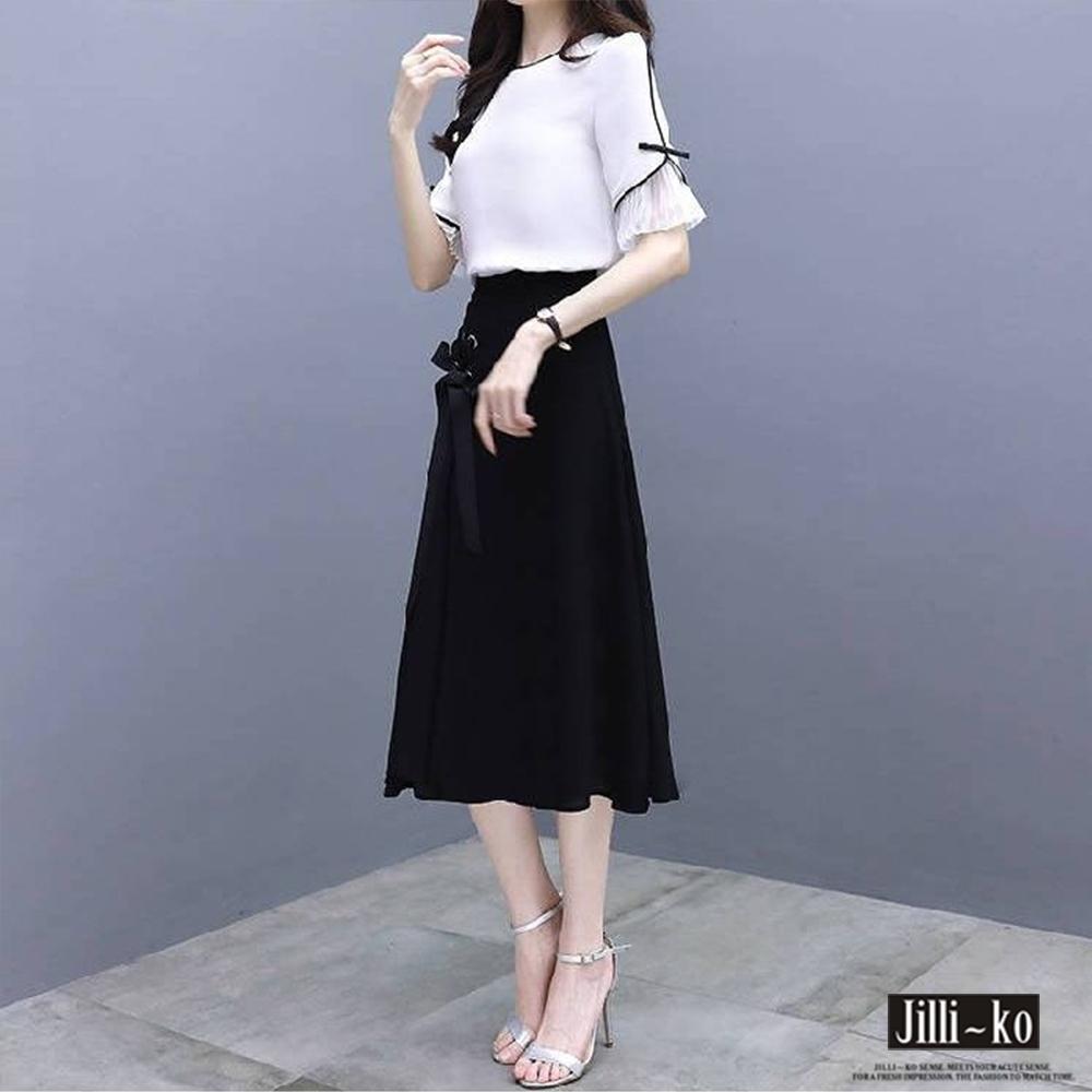 JILLI-KO 兩件套氣質風A字裙套裝- 白色