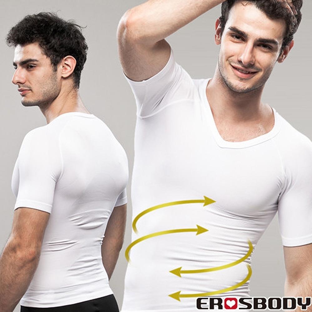 EROSBODY艾若斯健美 男健身塑身衣內搭短袖 白色