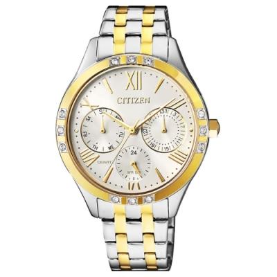 CTIZEN 時尚金系風尚雙色調三眼石英女錶(ED8174-55A)-白x34.5mm