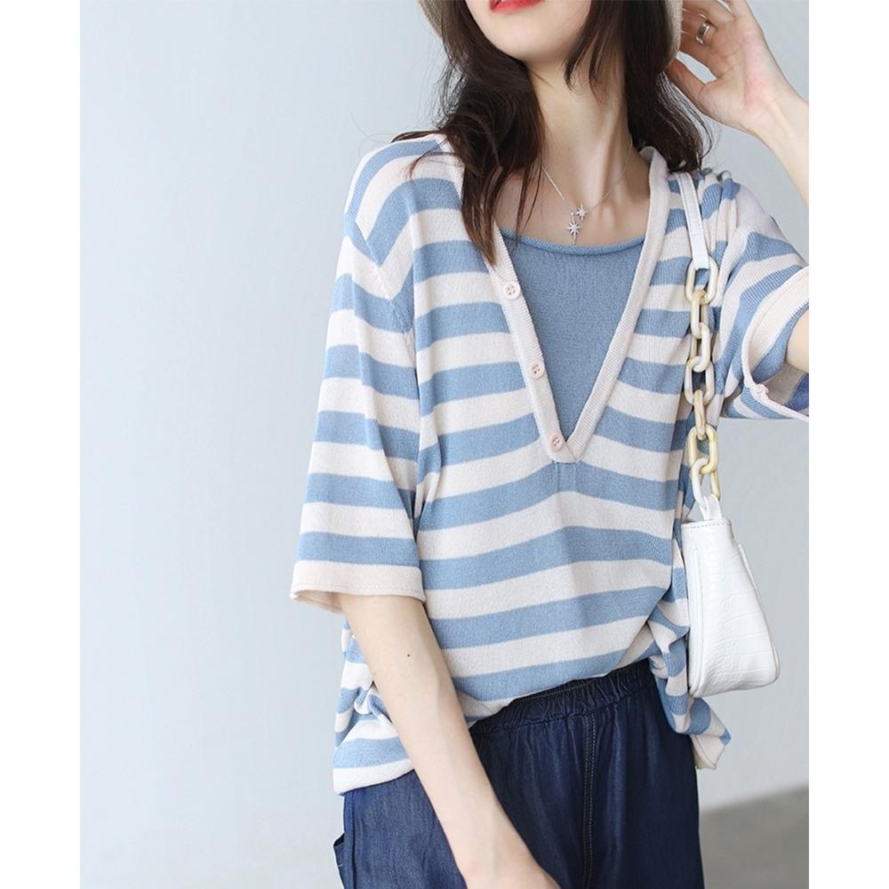 條紋短袖針織衫V領亞麻假兩件寬上衣多色可選-設計所在
