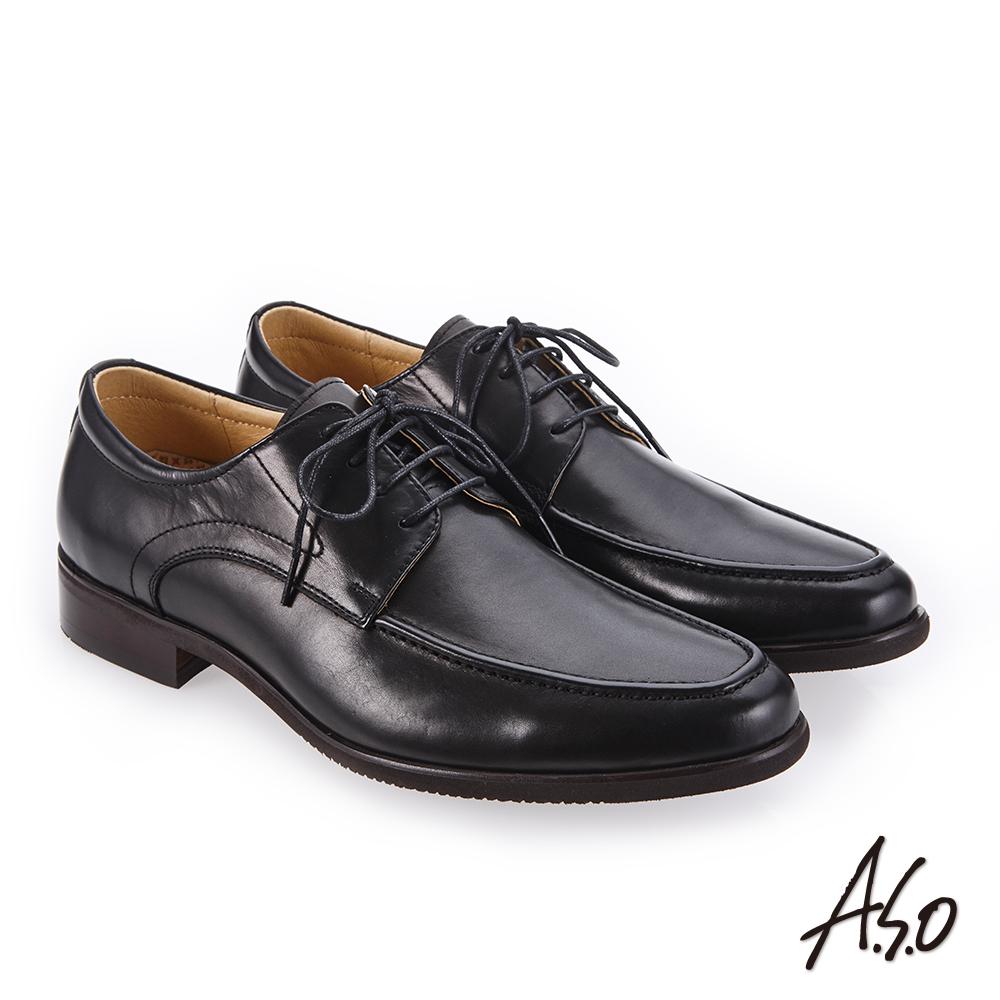 A.S.O 零壓挺力 臘感牛皮高透氣真皮鞋 黑