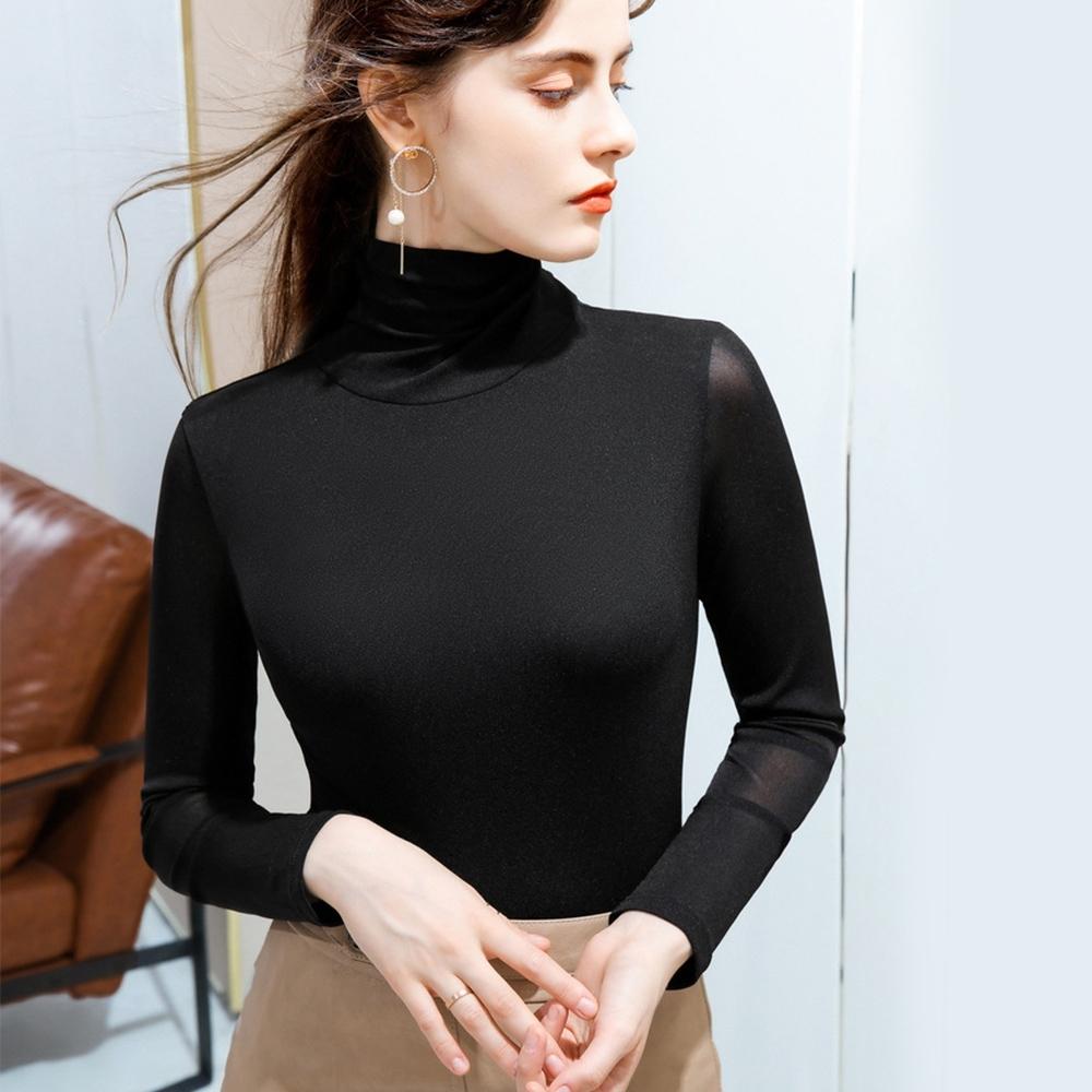 專注內搭-高領網紗簡約素色內搭長袖T恤彈力緊身上衣(四色S-4XL可選) product image 1