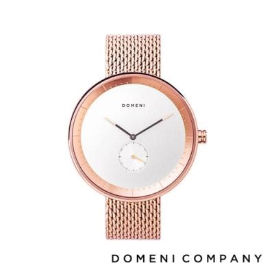 DOMENI COMPANY 經典系列 316L不鏽鋼小秒針錶 玫瑰金錶帶 -白/40mm