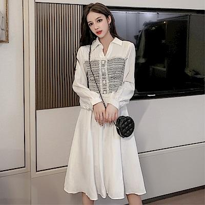 DABI 韓系氣質小香風淑女修身顯瘦長袖洋裝