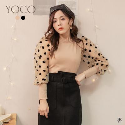 東京著衣-YOCO 高雅女伶坑條針織點點透膚公主袖上衣