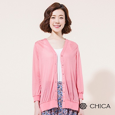 CHICA 簡約知性垂墜感透膚開衩罩衫(3色)