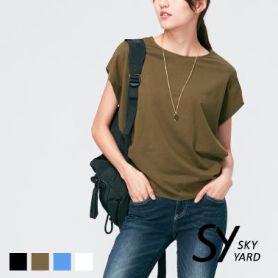 【SKY YARD 天空花園】都會休閒百搭落肩寬口袖造型上衣-綠