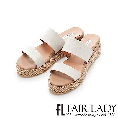 Fair Lady 一字編織圖騰厚底涼拖鞋 白