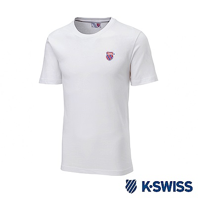 K-SWISS Wintage Shield Logo Tee印花短袖T恤-男-白