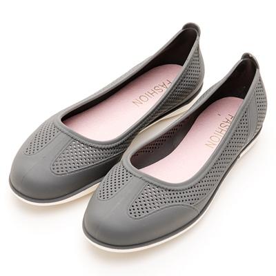 River&Moon防水鞋-晴雨二穿超Q軟沖孔圓頭休閒鞋-灰