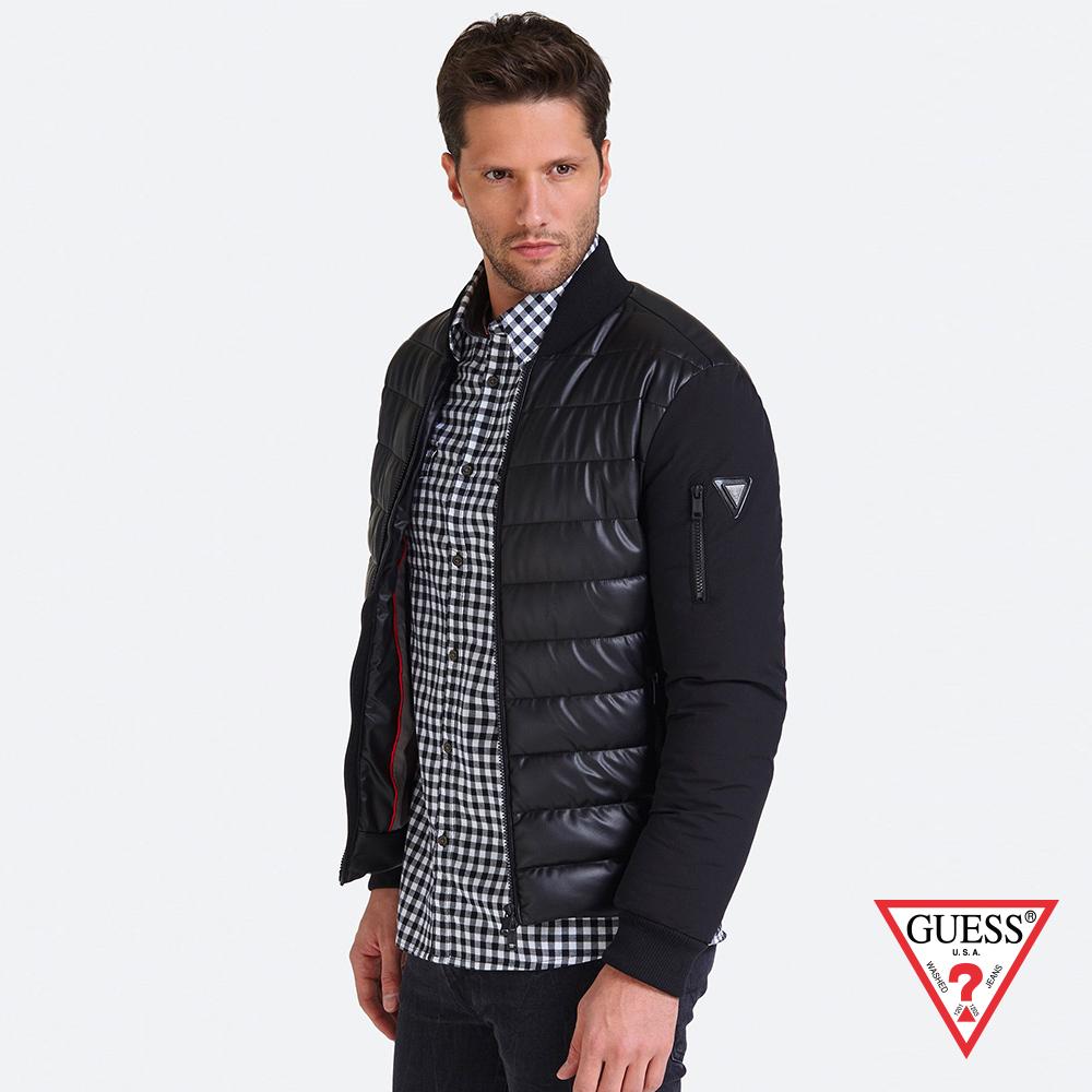 GUESS-男裝-異材質拼接鋪棉外套-黑 原價3990