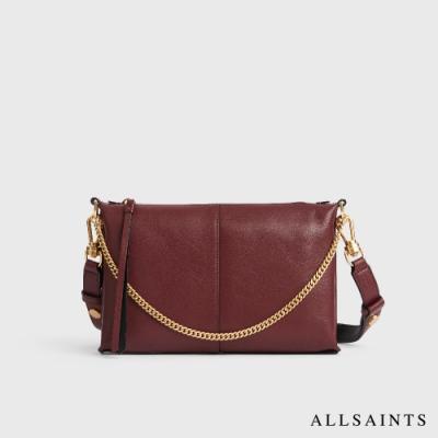 ALLSAINTS EVE 多變造型可拆式金色背帶羊皮斜背包-暗紅
