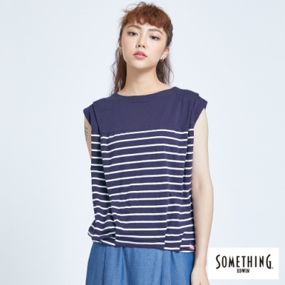 SOMETHING 自然系寬鬆條紋 連袖T恤-女-丈青