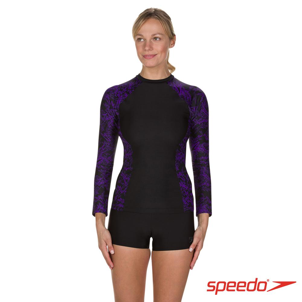 SPEEDO 女 長袖防曬衣 Boom 黑/紫