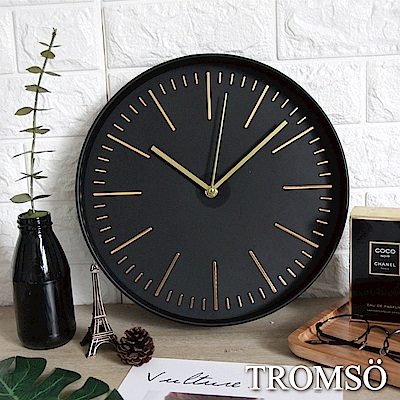 TROMSO紐約時代玫瑰金靜音時鐘-極簡金采黑
