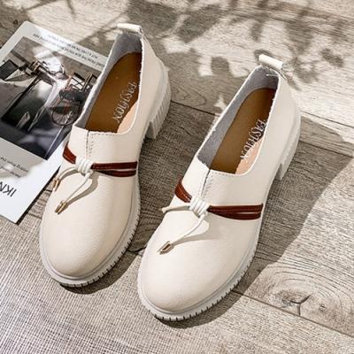 KEITH-WILL時尚鞋館 好評加碼時尚潮流英倫復古粗跟皮鞋-米