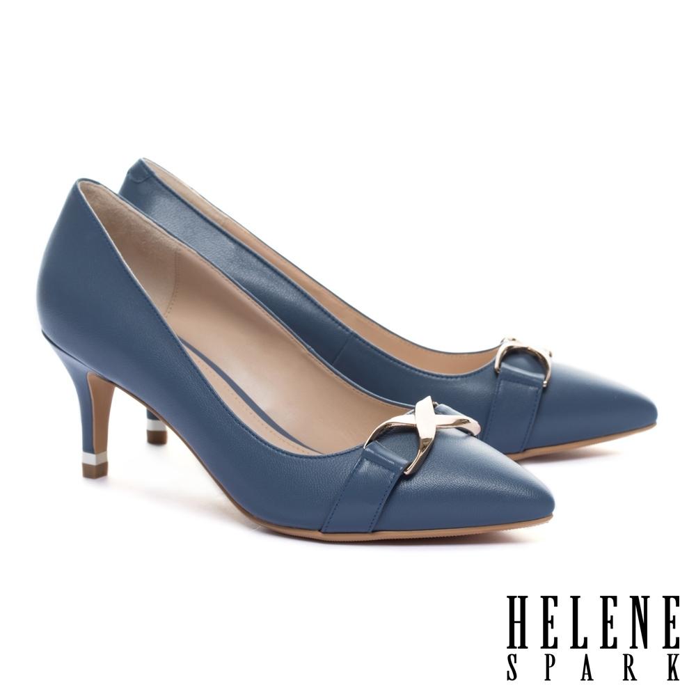 高跟鞋 HELENE SPARK 時髦個性金屬釦羊皮尖頭高跟鞋-藍