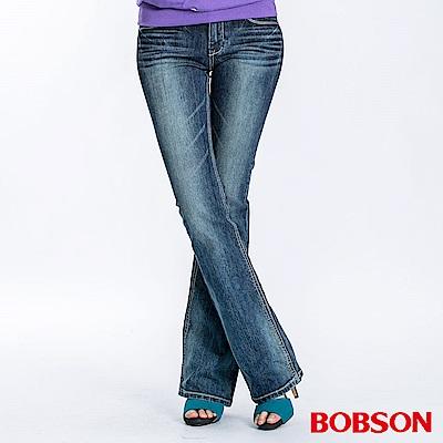 BOBSON 女款燙貼鋁片小喇叭褲(深藍53)