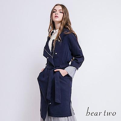 beartwo 不對稱下擺綁帶長版大衣(2色)