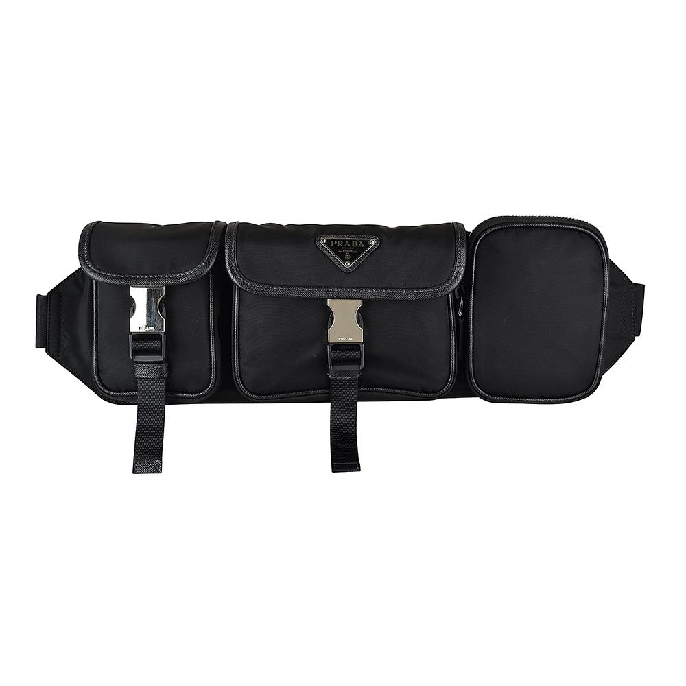 PRADA TESSUTO SAFFIAN三角鐵牌LOGO尼龍三口袋拉鍊胸腰包(黑)