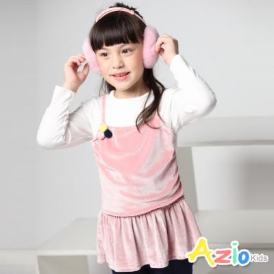 Azio Kids 女童 上衣 三顆毛球假兩件絲絨長袖上衣 (粉)