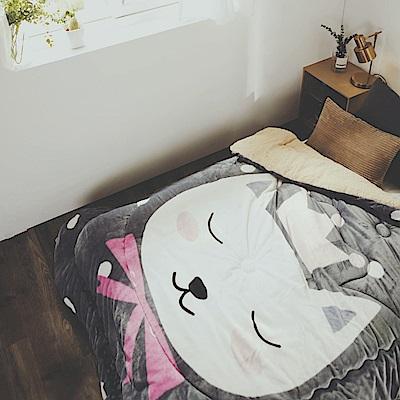 絲薇諾 美喵喵 法蘭羊羔絨暖暖被-180×210cm