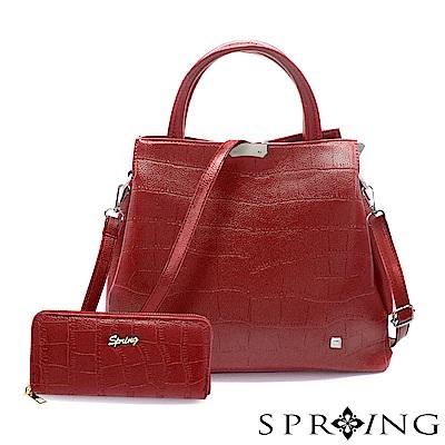 SPRING-2件組-優雅幸福鱷魚紋托特方包/長夾-質感紅