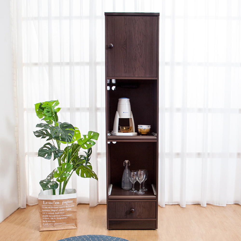 Birdie南亞塑鋼-1.5尺一門一抽二拉盤塑鋼電器櫃(胡桃色)44x41x180cm