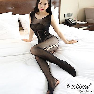 貓裝網衣 深情迷戀鏤空絲襪連身貓裝 挑逗黑 XOXOXO
