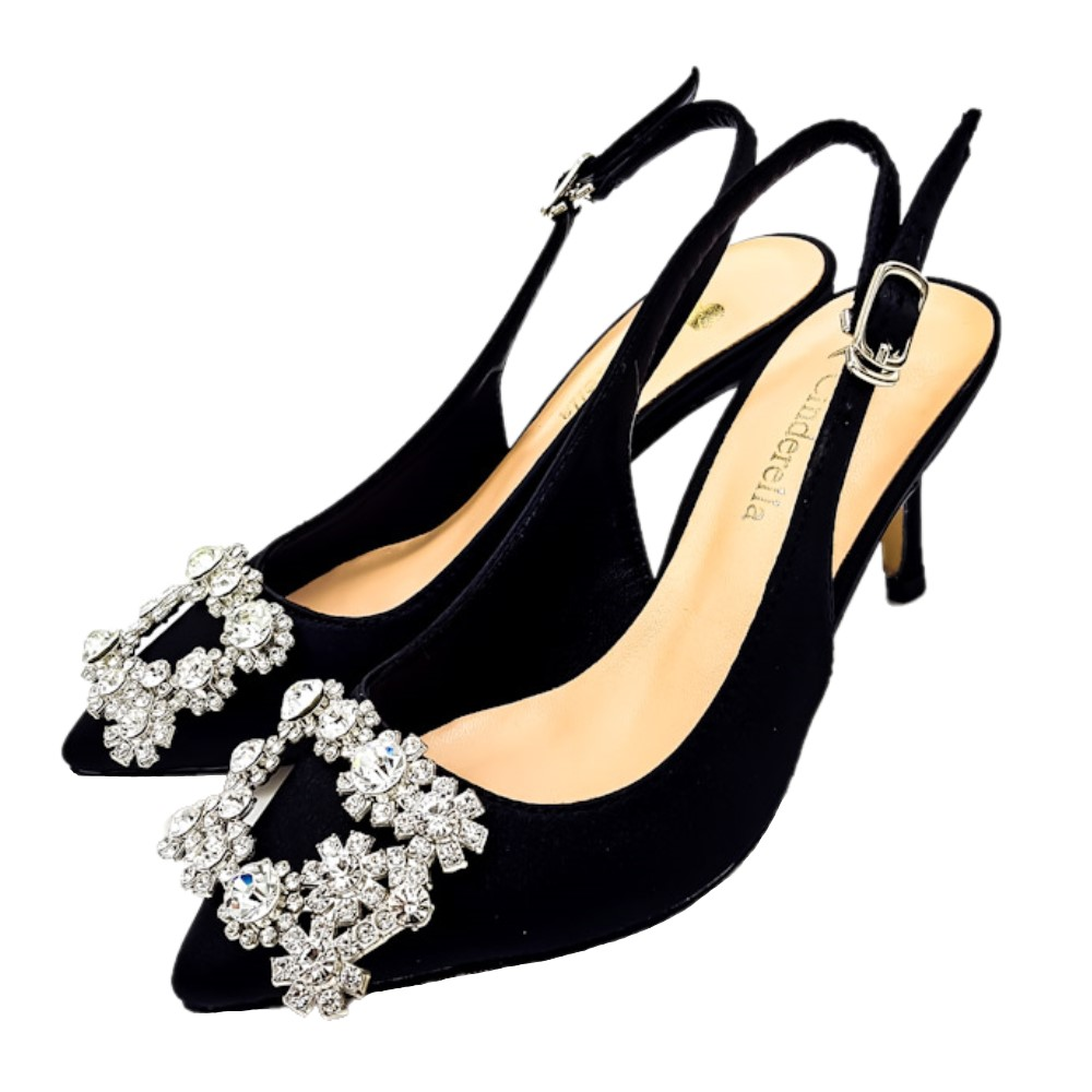 Cinderella Fashions 小尺碼方形鑽飾緞面後勾跟中跟鞋-黑色