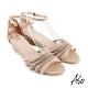 A.S.O 時尚流行 亮眼魅力民族串珠條帶風格楔型跟鞋-米 product thumbnail 1