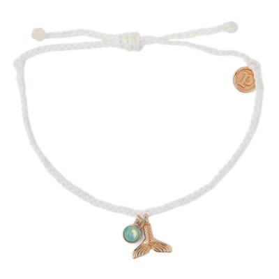 Pura Vida 美國手工 MERMAID FIN玫瑰金人魚尾巴 白色蠟線衝浪手鍊手環