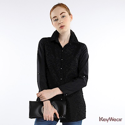 KeyWear奇威名品    時尚簡約立體圖紋長袖襯衫-黑色
