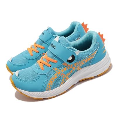 Asics 慢跑鞋 Contend 7 School Yard 童鞋 亞瑟士 魔鬼氈 頑皮恐龍 中童 藍 橘 1014A215400
