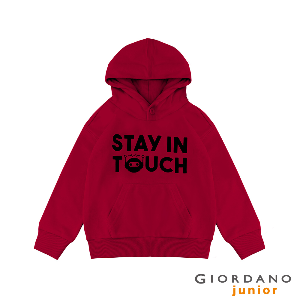 GIORDANO 童裝STAY IN TOUCH印花口袋鈕扣帽TEE-21 紅色