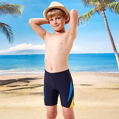 男童泳褲長版四角褲(T-868)黃藍拼接素色TiNyHouSe